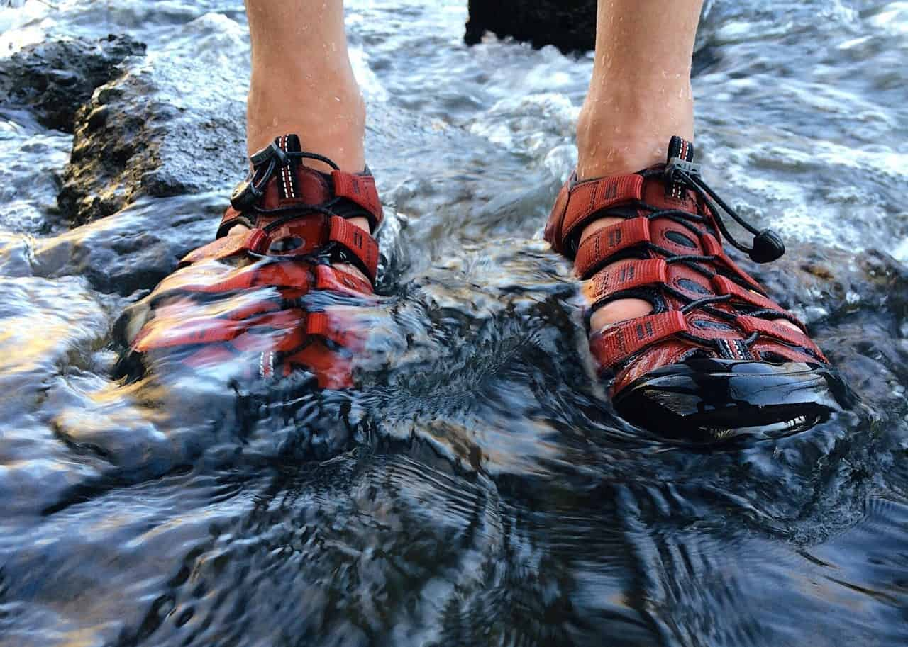 Person wearing sandals standing in water.