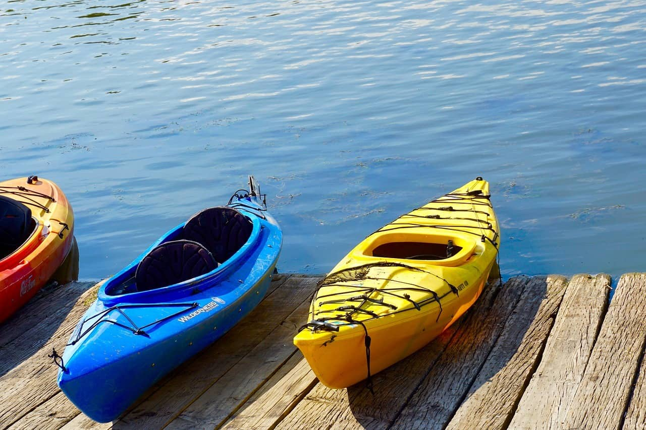 Kayaks on a Dock