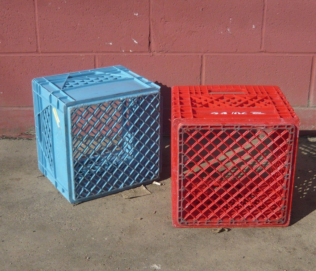 Milk crate for tackle box.