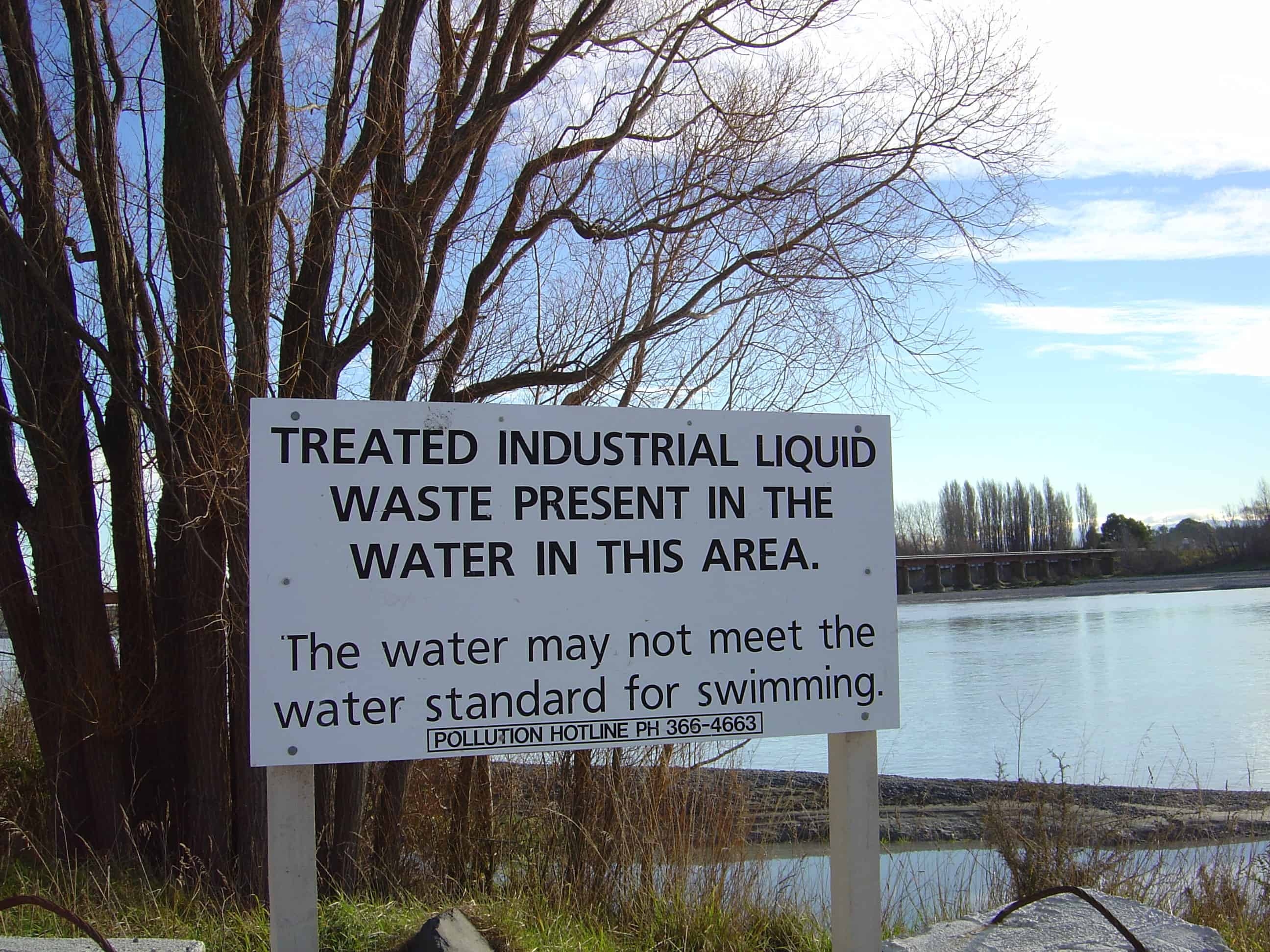 Industrial water pollution.